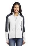Women's Colorblock Microfleece Jacket White with Battleship Grey Thumbnail