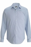 Men's No-iron Stay Collar Dress Shirt Blue with White Stripe Thumbnail