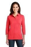 Women's 3/4Sleeve Meridian Cotton Blend Polo Hibiscus Pink Thumbnail
