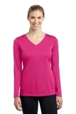 Women's Long Sleeve V-neck Competitor Tee Pink Raspberry Thumbnail