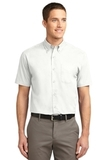 Tall Short Sleeve Easy Care Shirt White with Light Stone Thumbnail