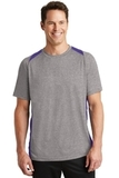 Heather Colorblock Contender Tee Vintage Heather with Purple Thumbnail