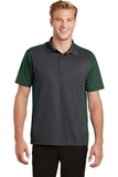 Colorblock Micropique Sport-Wick Polo Iron Grey with Forest Green Thumbnail