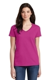 Women's Heavy Cotton 100 Cotton VNeck TShirt Heliconia Thumbnail