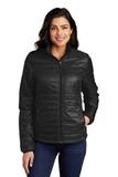 Ladies Packable Puffy Jacket Deep Black Thumbnail