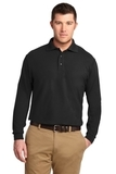 Tall Silk Touch Long Sleeve Polo Black Thumbnail