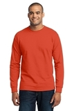 Long Sleeve 50/50 Cotton / Poly T-shirt Orange Thumbnail