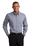 Port Authority Tall Tattersall Easy Care Shirt Grey with White Thumbnail