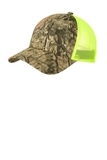 Structured Camouflage Mesh Back Cap Mossy Oak Break UP Country with Neon Yellow Thumbnail