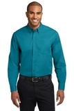 Extended Size Long Sleeve Easy Care Shirt Teal Green Thumbnail