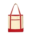 Large Cotton Canvas Boat Tote Natural with Red Thumbnail