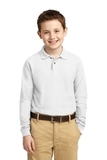 Youth Silk Touch Long Sleeve Sport Shirt White Thumbnail