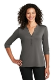 Ladies UV Choice Pique Henley Sterling Grey Thumbnail