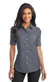 Women's Short Sleeve Superpro Oxford Shirt Black Thumbnail