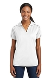 Women's Micropique Sport-wick Piped Polo White with Iron Grey Thumbnail