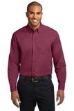 Long Sleeve Easy Care Shirt Burgundy with Light Stone Thumbnail