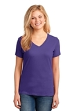 Women's 5.4-oz 100 Cotton V-neck T-shirt Purple Thumbnail