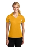 Women's Side Blocked Micropique Polo Shirt Gold with White Thumbnail