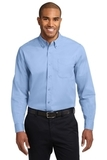 Tall Long Sleeve Easy Care Shirt Light Blue with Light Stone Thumbnail