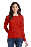 Women's Heavy Cotton 100 Cotton Long Sleeve TShirt Red Thumbnail