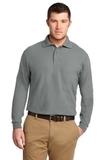 Tall Silk Touch Long Sleeve Polo Cool Grey Thumbnail