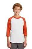 Youth Colorblock Raglan Jersey White with Deep Orange Thumbnail