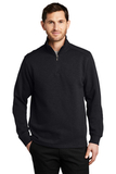 Slub Fleece 1/4-zip Pullover Black Thumbnail