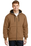 Heavyweight Full-zip Hooded Sweatshirt With Thermal Lining Duck Brown Thumbnail