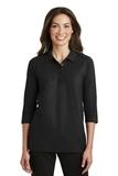 Women's Silk Touch 3/4-sleeve Polo Shirt Black Thumbnail