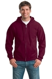 Full-zip Hooded Sweatshirt Maroon Thumbnail