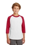 Youth Colorblock Raglan Jersey White with Red Thumbnail