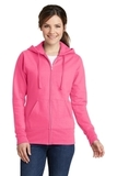 Women's Classic Full-Zip Hooded Sweatshirt Neon Pink Thumbnail
