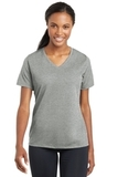 Women's Racermesh V-neck Tee Grey Heather Thumbnail