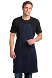 Easy Care Extra Long Bib Apron With Stain Release Navy Thumbnail