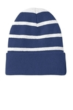 Striped Beanie with Solid Band Team Navy with Silver Thumbnail