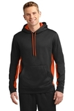 Sport-wick Fleece Colorblock Hooded Pullover Black with Deep Orange Thumbnail