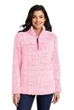 Ladies Cozy 1/4-Zip Fleece Pop Raspberry Heather Thumbnail