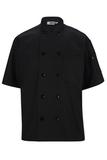 10 Pearl Button Short Sleeve Chef Coat Black Thumbnail