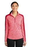 Women's Electric Heather Colorblock 1/4-Zip Pullover Deep Red Electric with Deep Red Thumbnail