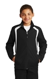 Youth Colorblock Raglan Jacket Black with White Thumbnail