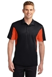 Side Blocked Performance Micropique Polo Shirt Black with Deep Orange Thumbnail