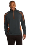 Sport-wick Stretch 1/2-zip Colorblock Pullover Charcoal Grey with Deep Orange Thumbnail