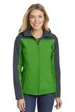 Women's Hooded Core Soft Shell Jacket Vine Green with Battleship Grey Thumbnail