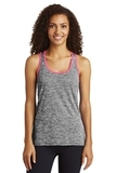 Women's Electric Heather Racerback Tank Black Electric with Neon Pink Thumbnail