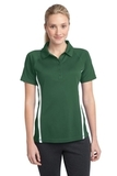 Women's Micro-mesh Colorblock Polo Forest Green with White Thumbnail