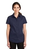 Women's Short Sleeve SuperPro Twill Shirt True Navy Thumbnail