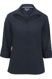 Women's Easy Care Poplin Shirt 3/4 Sleeve Navy Thumbnail