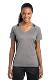 Women's Heather Colorblock Contender V-neck Tee Vintage Heather with Forest Green Thumbnail