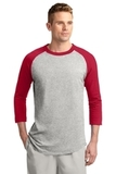 Colorblock Raglan Jersey Heather Grey with Red Thumbnail