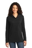 Women's French Terry Pullover Hooded Sweatshirt Black Thumbnail